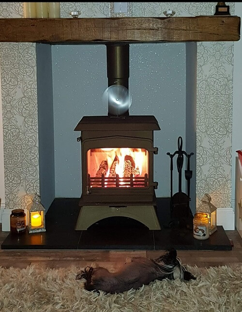 stove - oak beam and mantle